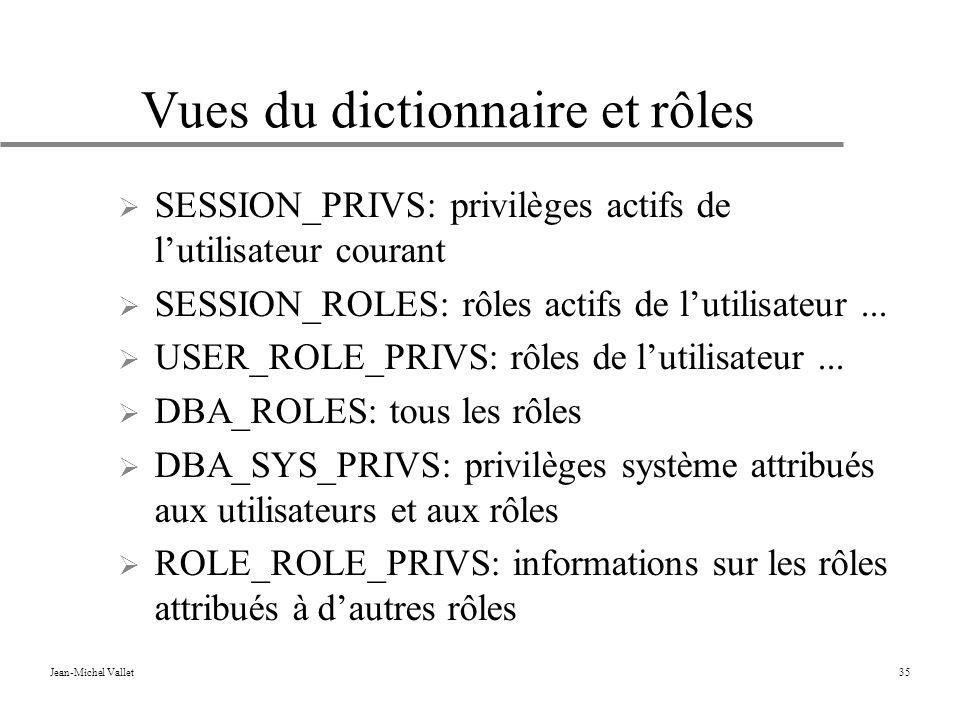 Jean-Michel Vallet35 Vues du dictionnaire et rôles SESSION_PRIVS: privilèges actifs de lutilisateur courant SESSION_ROLES: rôles actifs de lutilisateur...