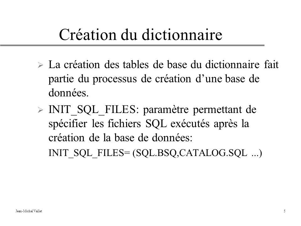 Jean-Michel Vallet5 Création du dictionnaire La création des tables de base du dictionnaire fait partie du processus de création dune base de données.