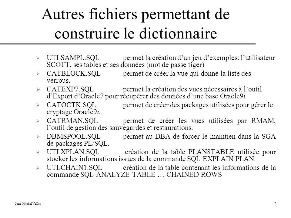 Jean-Michel Vallet7 Autres fichiers permettant de construire le dictionnaire UTLSAMPL.SQLpermet la création dun jeu dexemples: lutilisateur SCOTT, ses tables et ses données (mot de passe tiger) CATBLOCK.SQLpermet de créer la vue qui donne la liste des verrous.