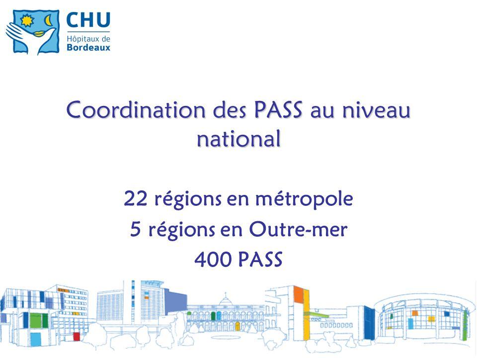 Coordination des PASS au niveau national 22 régions en métropole 5 régions en Outre-mer 400 PASS