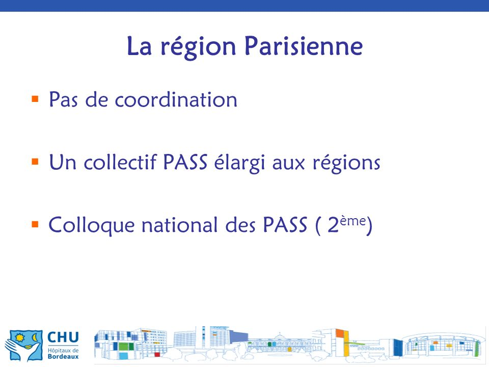 La région Parisienne Pas de coordination Un collectif PASS élargi aux régions Colloque national des PASS ( 2 ème )