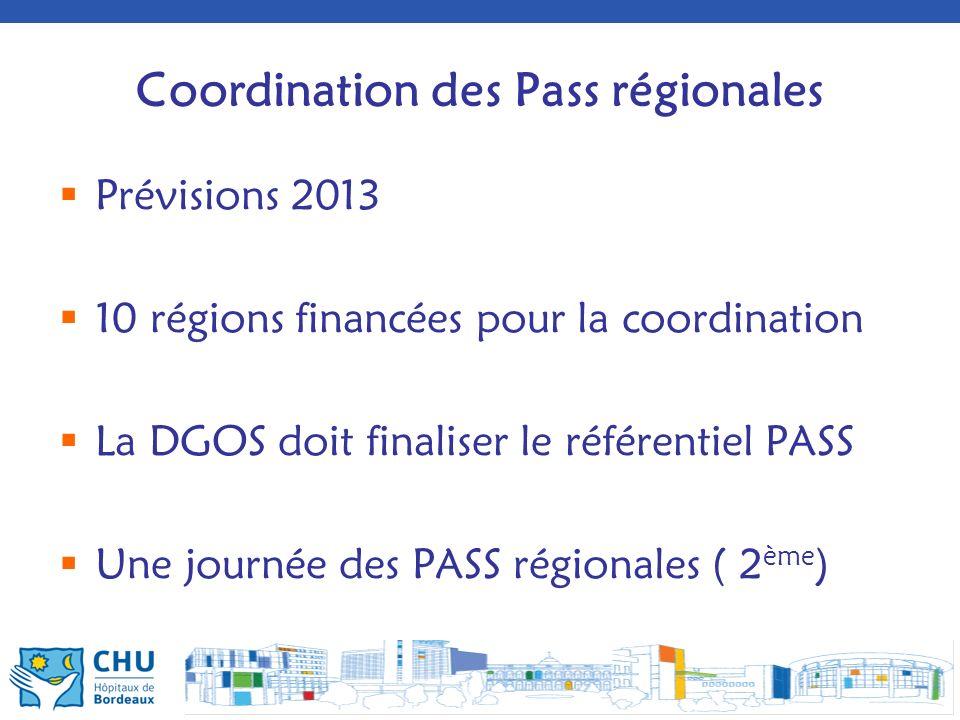 Coordination des Pass régionales Prévisions 2013 10 régions financées pour la coordination La DGOS doit finaliser le référentiel PASS Une journée des