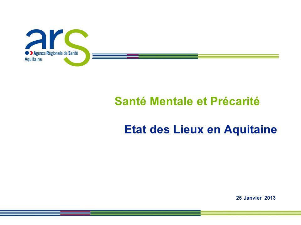 Santé Mentale et Précarité Etat des Lieux en Aquitaine 25 Janvier 2013