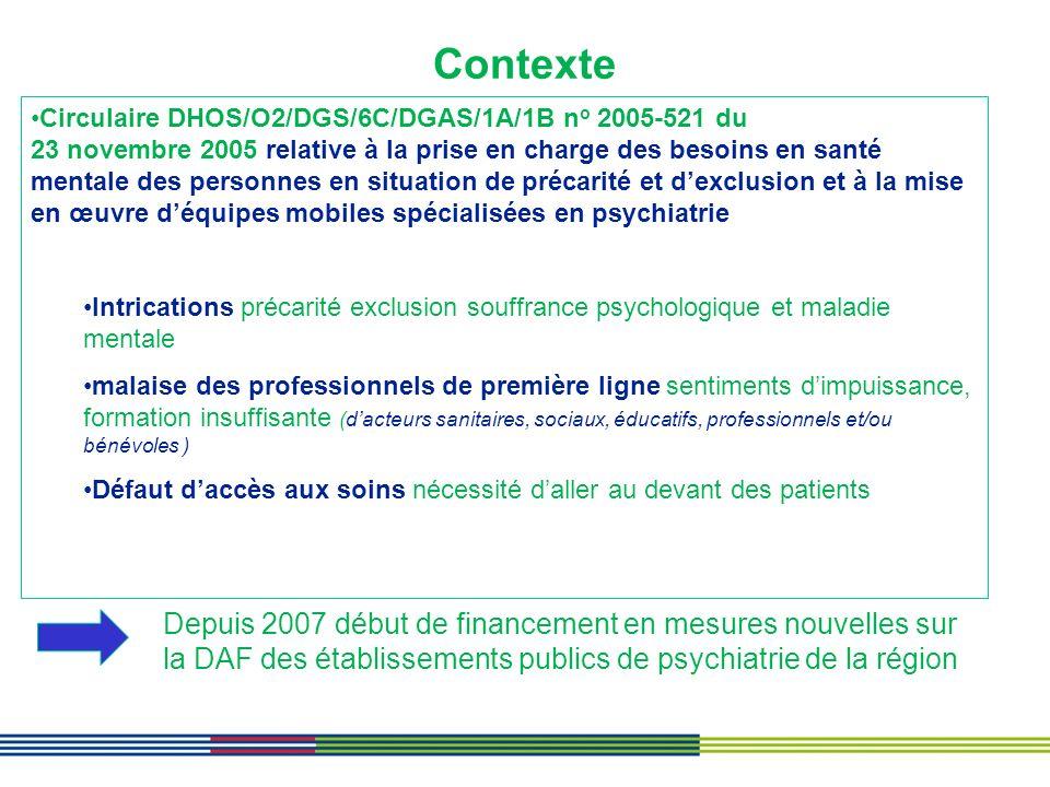 Contexte Circulaire DHOS/O2/DGS/6C/DGAS/1A/1B n o 2005-521 du 23 novembre 2005 relative à la prise en charge des besoins en santé mentale des personne