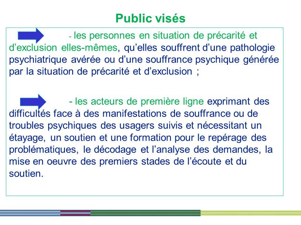 Public visés - les personnes en situation de précarité et dexclusion elles-mêmes, quelles souffrent dune pathologie psychiatrique avérée ou dune souff
