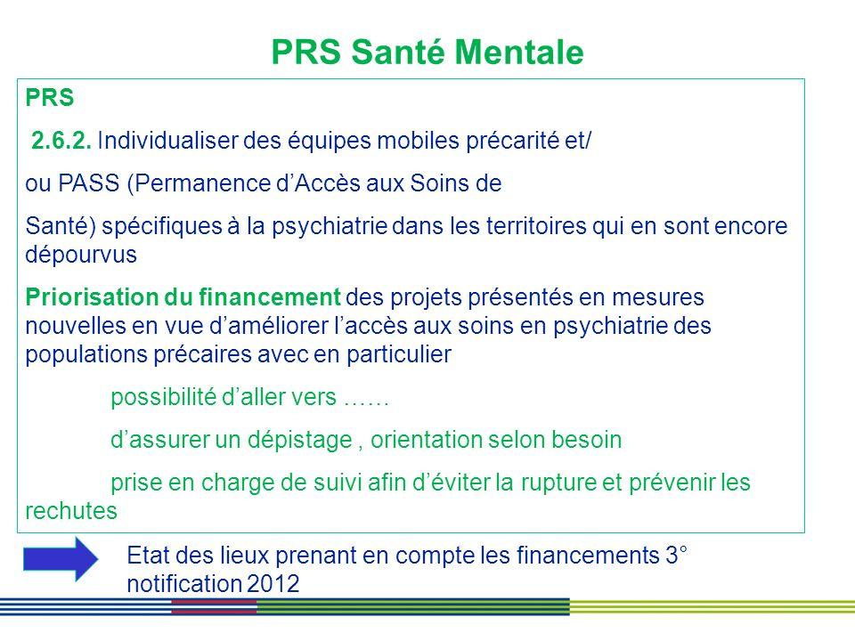 PRS Santé Mentale PRS 2.6.2. Individualiser des équipes mobiles précarité et/ ou PASS (Permanence dAccès aux Soins de Santé) spécifiques à la psychiat