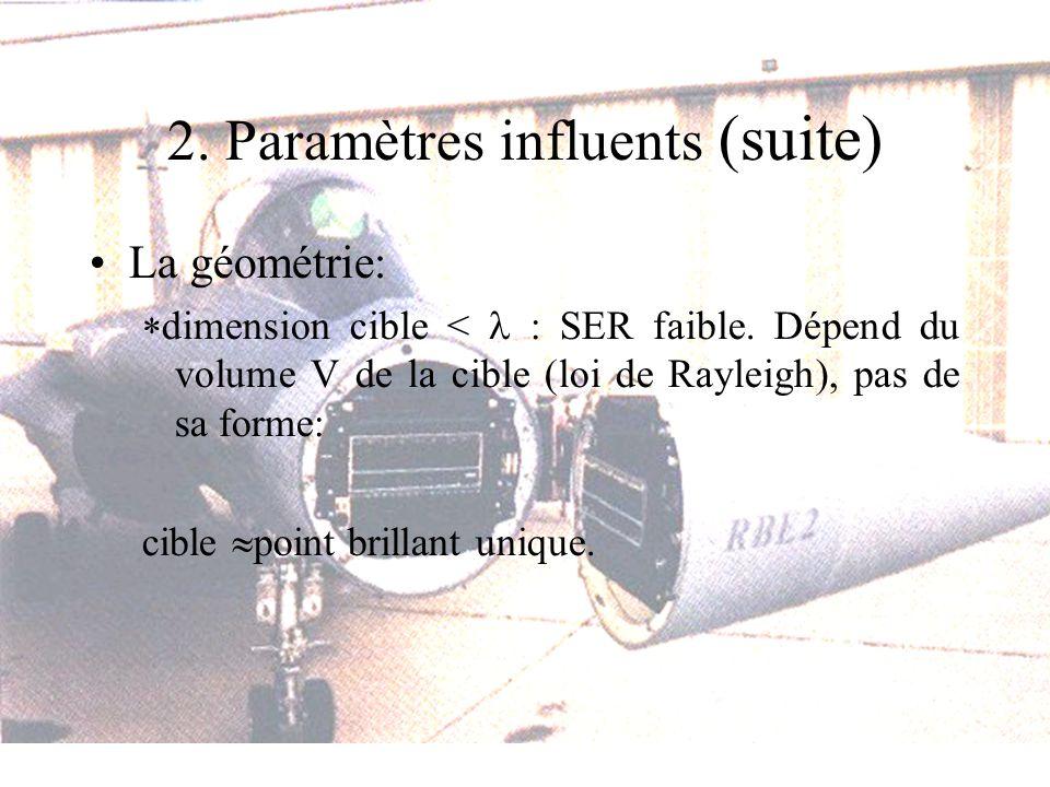 2. Paramètres influents (suite) La géométrie: dimension cible < : SER faible. Dépend du volume V de la cible (loi de Rayleigh), pas de sa forme: cible