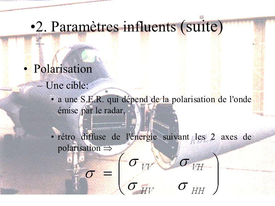 Polarisation –Une cible: a une S.E.R. qui dépend de la polarisation de l'onde émise par le radar, rétro diffuse de l'énergie suivant les 2 axes de pol