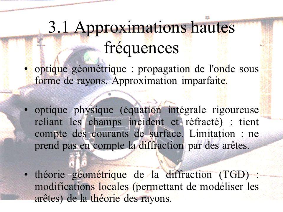 3.1 Approximations hautes fréquences optique géométrique : propagation de l'onde sous forme de rayons. Approximation imparfaite. optique physique (équ