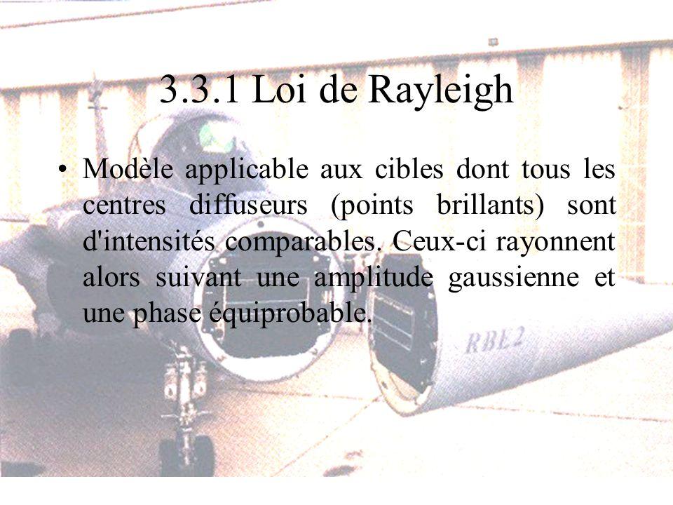 3.3.1 Loi de Rayleigh Modèle applicable aux cibles dont tous les centres diffuseurs (points brillants) sont d'intensités comparables. Ceux-ci rayonnen
