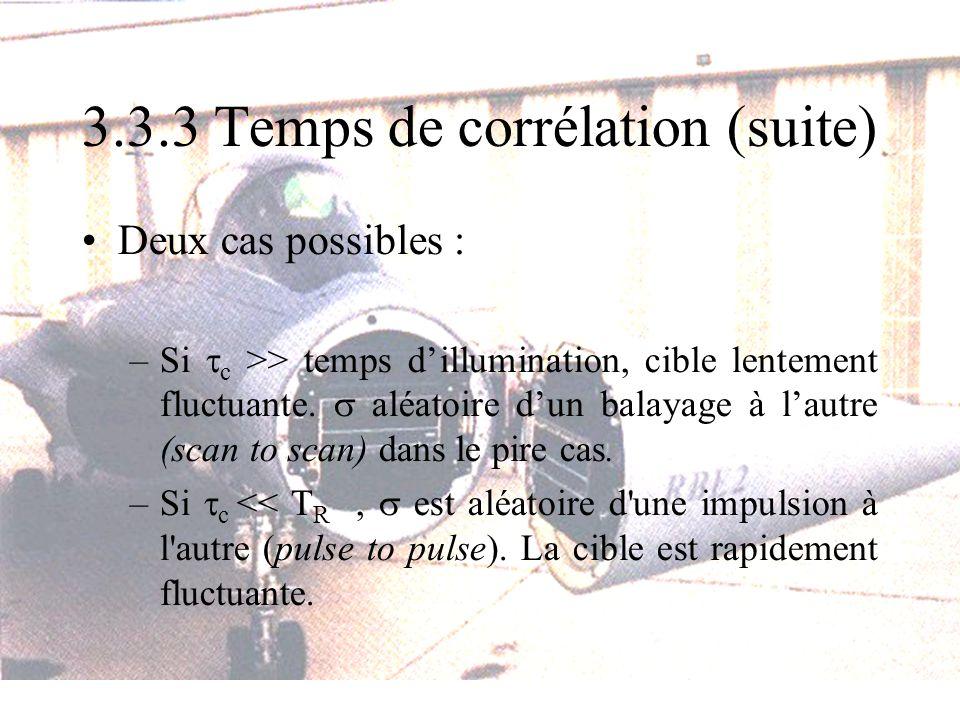 3.3.3 Temps de corrélation (suite) Deux cas possibles : –Si c >> temps dillumination, cible lentement fluctuante. aléatoire dun balayage à lautre (sca