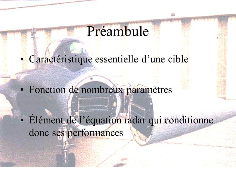 Préambule Caractéristique essentielle dune cible Fonction de nombreux paramètres Élément de léquation radar qui conditionne donc ses performances
