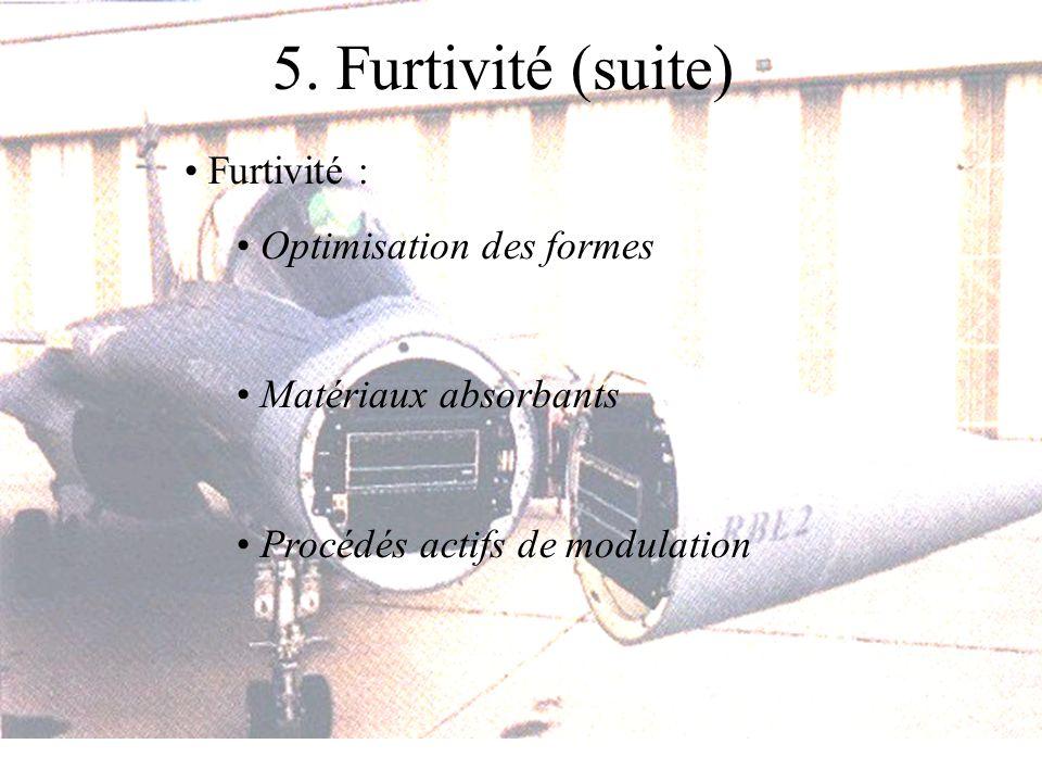 5. Furtivité (suite) Furtivité : Optimisation des formes Matériaux absorbants Procédés actifs de modulation