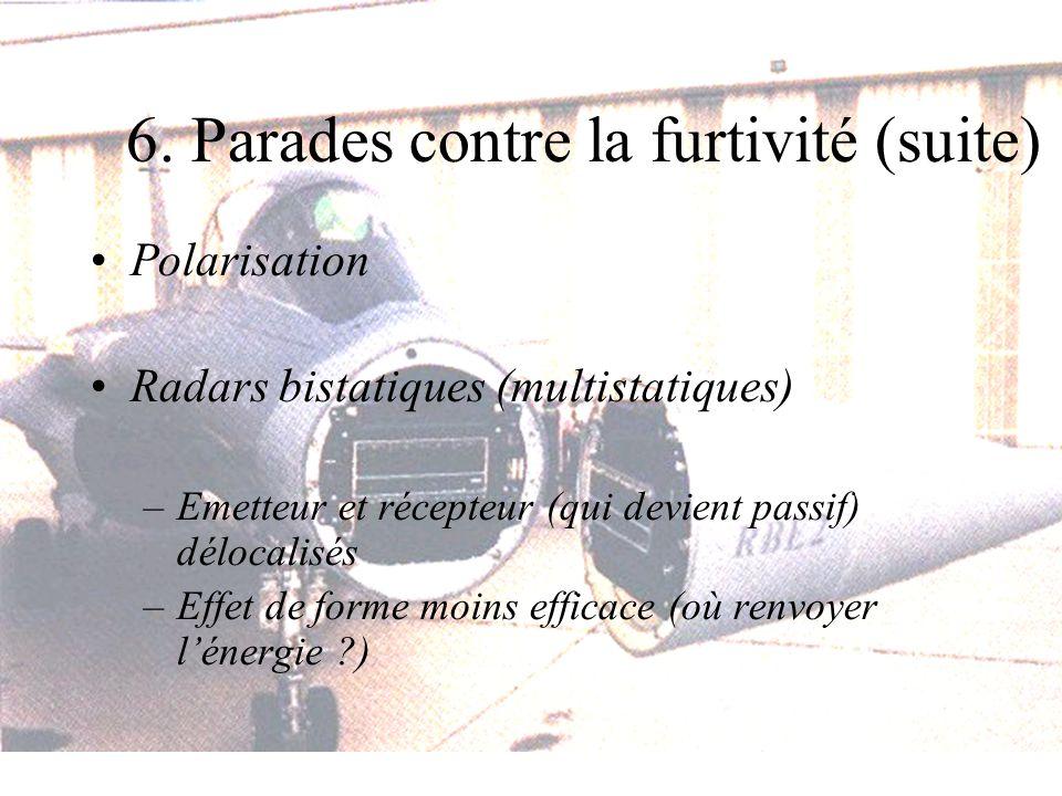 6. Parades contre la furtivité (suite) Polarisation Radars bistatiques (multistatiques) –Emetteur et récepteur (qui devient passif) délocalisés –Effet