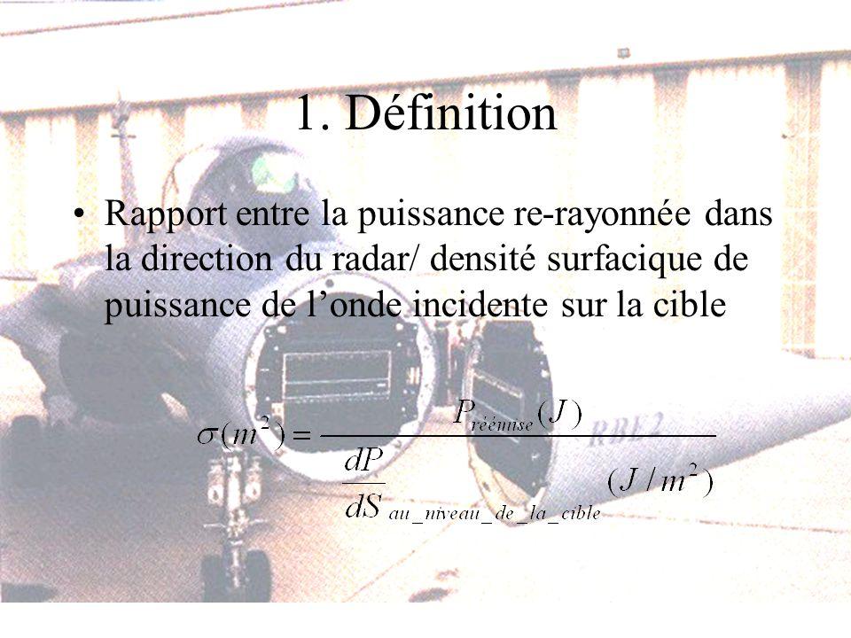 1. Définition Rapport entre la puissance re-rayonnée dans la direction du radar/ densité surfacique de puissance de londe incidente sur la cible