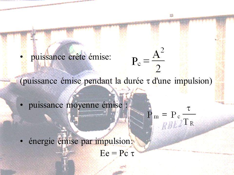puissance crête émise: (puissance émise pendant la durée d une impulsion) puissance moyenne émise : énergie émise par impulsion: Ee = Pc