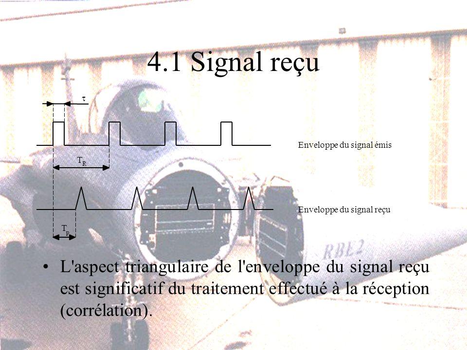 4.1 Signal reçu L aspect triangulaire de l enveloppe du signal reçu est significatif du traitement effectué à la réception (corrélation).