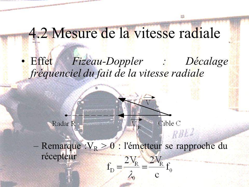 4.2 Mesure de la vitesse radiale Effet Fizeau-Doppler : Décalage fréquenciel du fait de la vitesse radiale –Remarque :V R > 0 : l émetteur se rapproche du récepteur