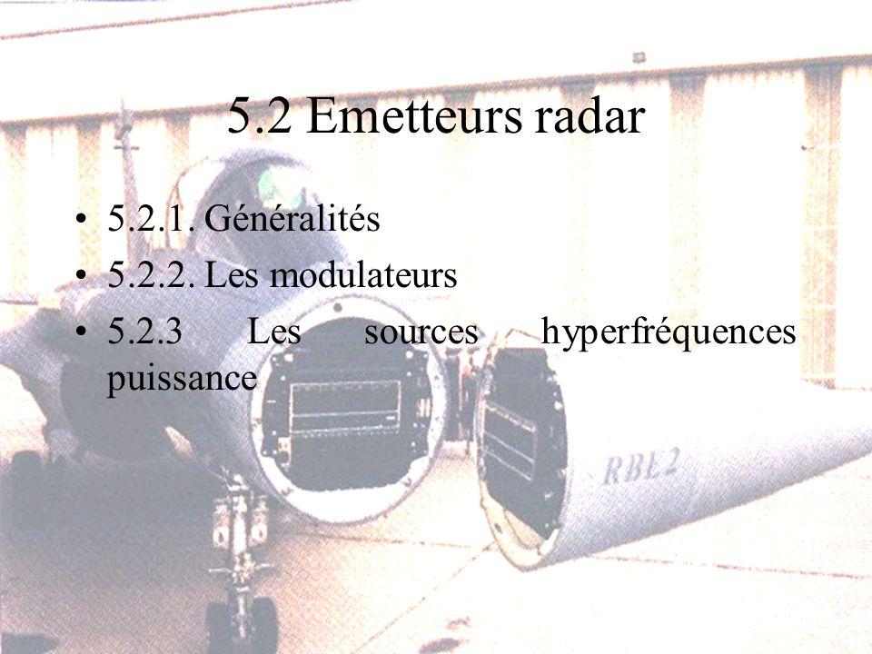 5.2 Emetteurs radar 5.2.1.Généralités 5.2.2.