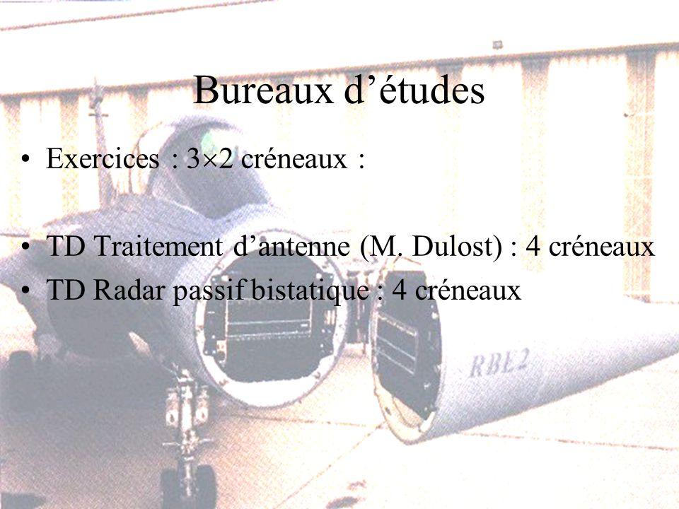 Bureaux détudes Exercices : 3 2 créneaux : TD Traitement dantenne (M.