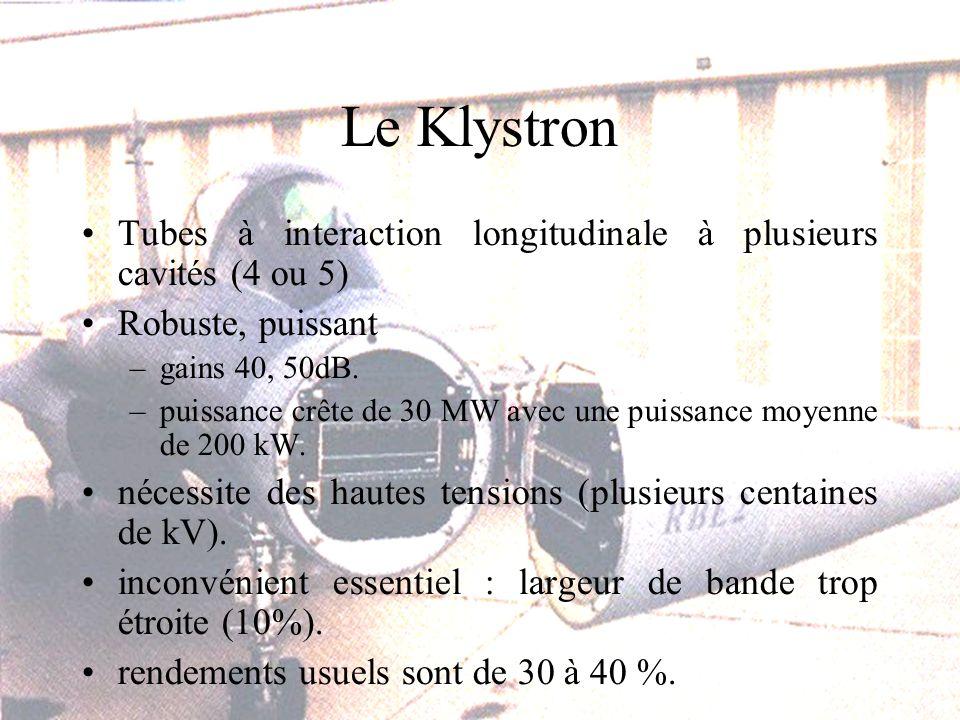 Le Klystron Tubes à interaction longitudinale à plusieurs cavités (4 ou 5) Robuste, puissant –gains 40, 50dB.
