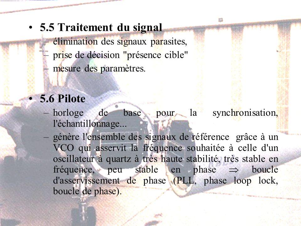 5.5 Traitement du signal –élimination des signaux parasites, –prise de décision présence cible –mesure des paramètres.