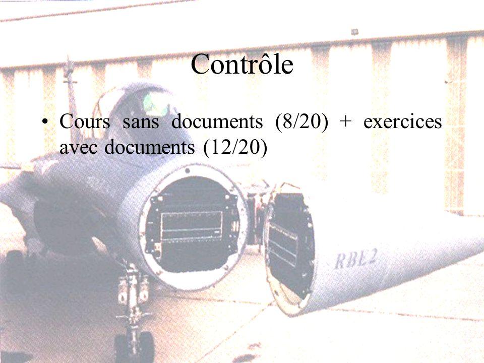 Contrôle Cours sans documents (8/20) + exercices avec documents (12/20)