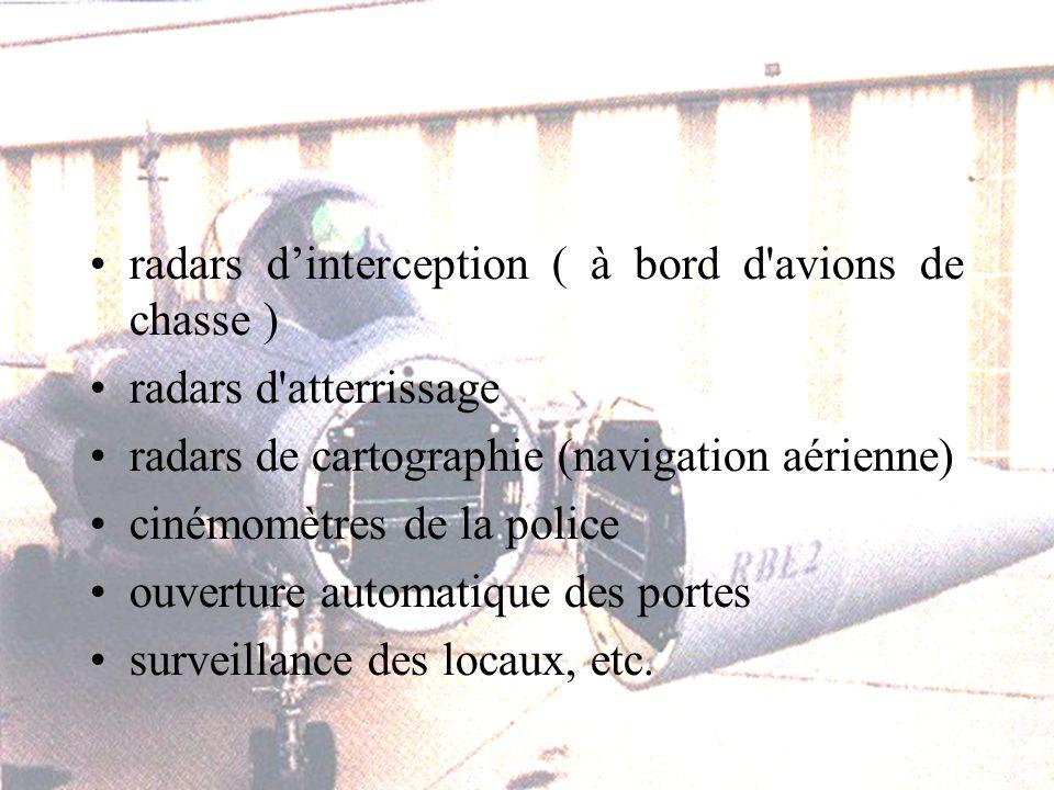 radars dinterception ( à bord d avions de chasse ) radars d atterrissage radars de cartographie (navigation aérienne) cinémomètres de la police ouverture automatique des portes surveillance des locaux, etc.