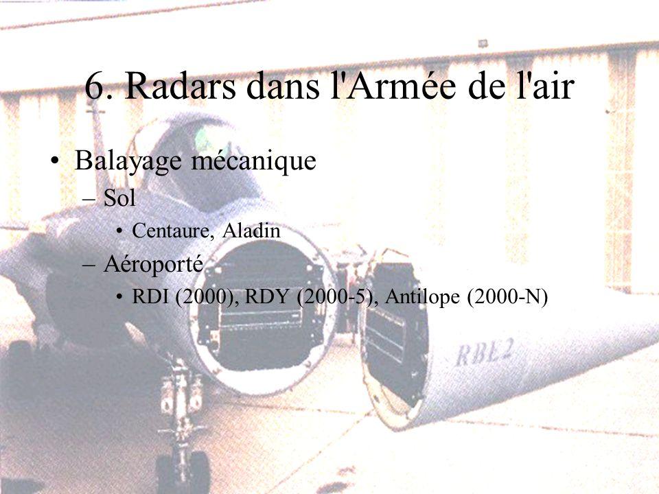 6. Radars dans l'Armée de l'air Balayage mécanique –Sol Centaure, Aladin –Aéroporté RDI (2000), RDY (2000-5), Antilope (2000-N)
