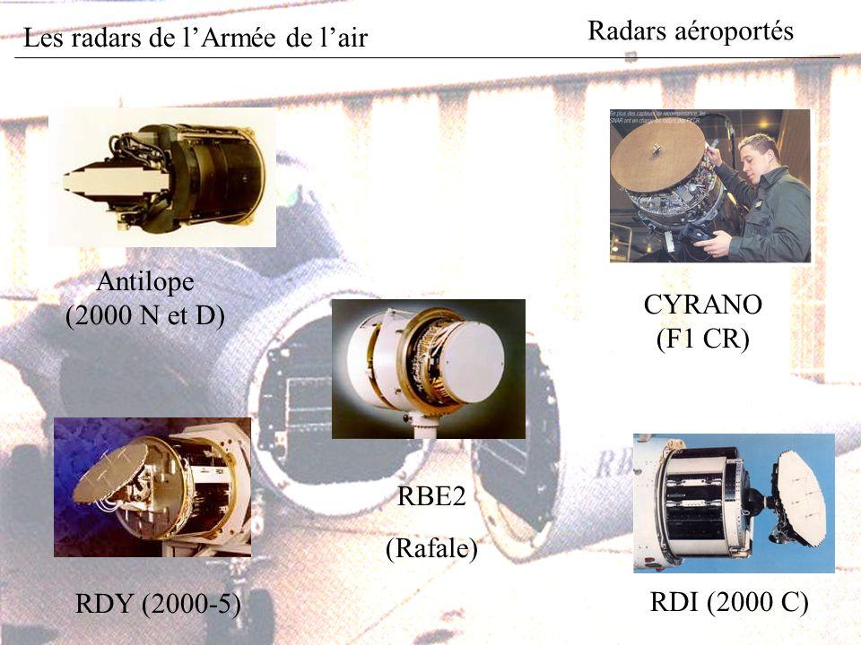 Radars aéroportés Antilope (2000 N et D) RDI (2000 C) RDY (2000-5) RBE2 (Rafale) CYRANO (F1 CR) Les radars de lArmée de lair