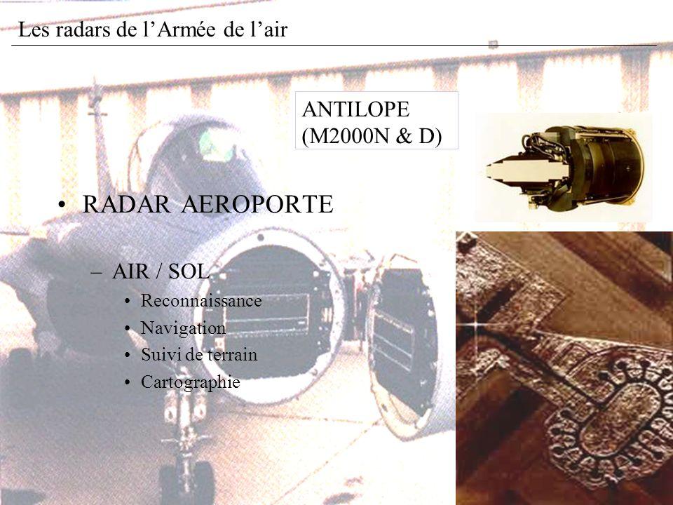 RADAR AEROPORTE –AIR / SOL Reconnaissance Navigation Suivi de terrain Cartographie ANTILOPE (M2000N & D) Les radars de lArmée de lair