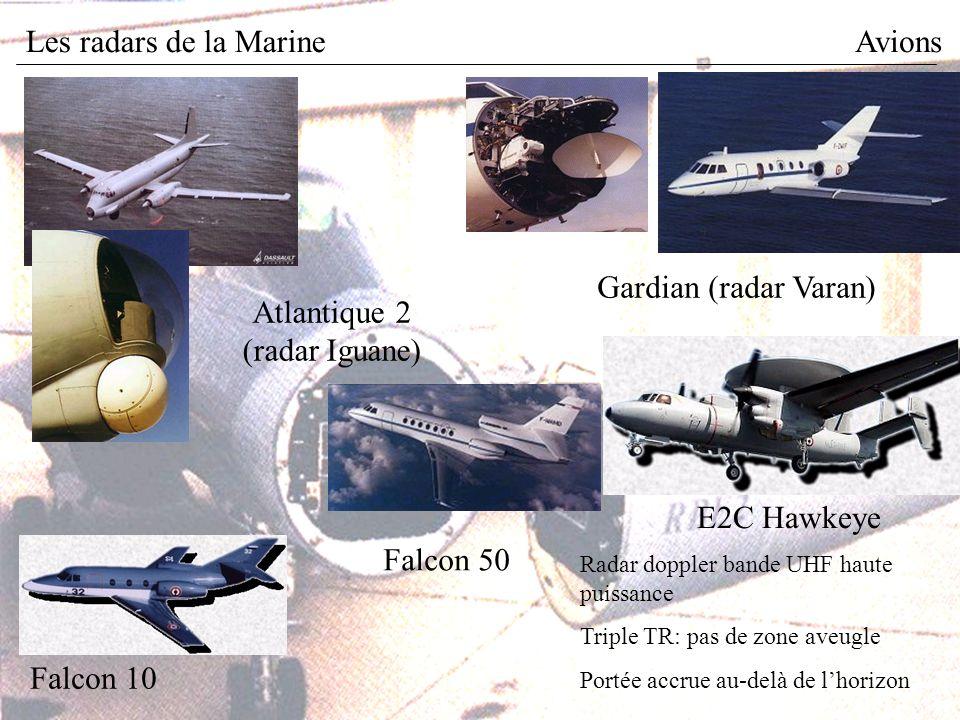 Les radars de la MarineAvions E2C Hawkeye Radar doppler bande UHF haute puissance Triple TR: pas de zone aveugle Portée accrue au-delà de lhorizon Atlantique 2 (radar Iguane) Falcon 10 Gardian (radar Varan) Falcon 50