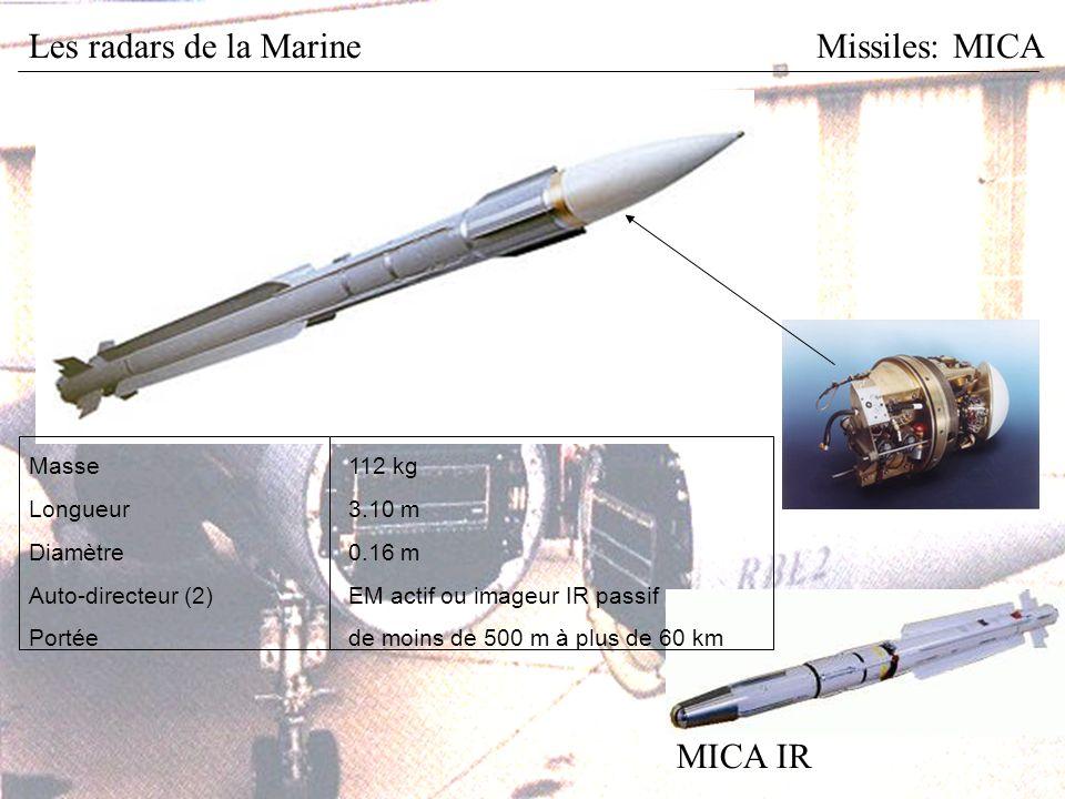 Les radars de la MarineMissiles: MICA MICA IR Masse112 kg Longueur3.10 m Diamètre0.16 m Auto-directeur (2)EM actif ou imageur IR passif Portéede moins de 500 m à plus de 60 km