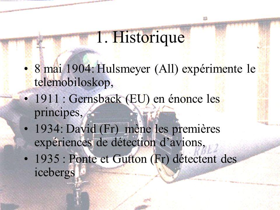 1. Historique 8 mai 1904: Hulsmeyer (All) expérimente le telemobiloskop, 1911 : Gernsback (EU) en énonce les principes, 1934: David (Fr) mène les prem
