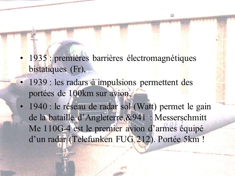 1935 : premières barrières électromagnétiques bistatiques (Fr), 1939 : les radars à impulsions permettent des portées de 100km sur avion, 1940 : le réseau de radar sol (Watt) permet le gain de la bataille dAngleterre,&941 : Messerschmitt Me 110G-4 est le premier avion darmes équipé dun radar (Telefunken FUG 212).