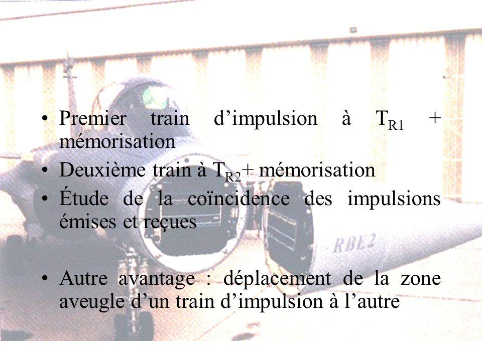 Premier train dimpulsion à T R1 + mémorisation Deuxième train à T R2 + mémorisation Étude de la coïncidence des impulsions émises et reçues Autre avantage : déplacement de la zone aveugle dun train dimpulsion à lautre