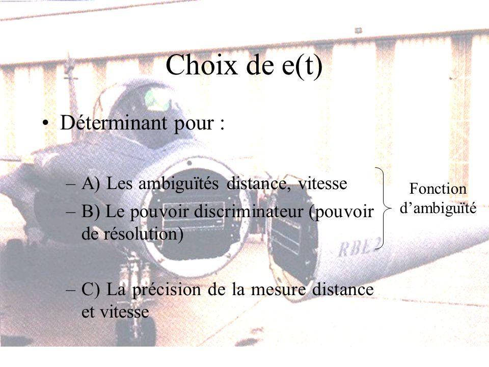 Choix de e(t) Déterminant pour : –A) Les ambiguïtés distance, vitesse –B) Le pouvoir discriminateur (pouvoir de résolution) –C) La précision de la mesure distance et vitesse Fonction dambiguïté