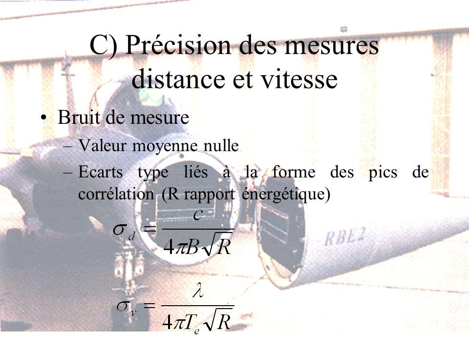 C) Précision des mesures distance et vitesse Bruit de mesure –Valeur moyenne nulle –Ecarts type liés à la forme des pics de corrélation (R rapport énergétique)