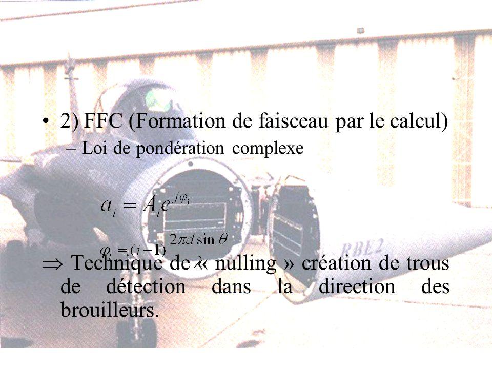2) FFC (Formation de faisceau par le calcul) –Loi de pondération complexe Technique de « nulling » création de trous de détection dans la direction des brouilleurs.
