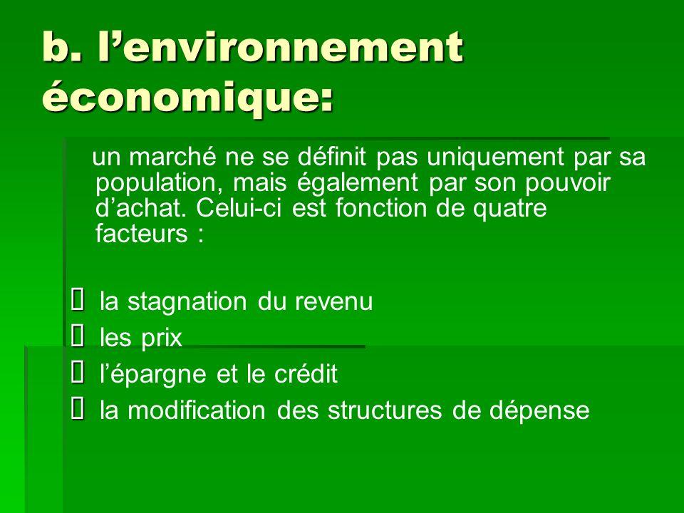 b. lenvironnement économique: un marché ne se définit pas uniquement par sa population, mais également par son pouvoir dachat. Celui-ci est fonction d