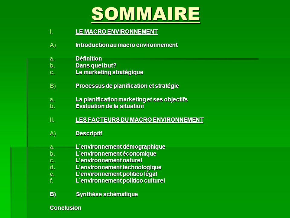 SOMMAIRE I.L E MACRO ENVIRONNEMENT A)I ntroduction au macro environnement a.D éfinition b.D ans quel but? c.L e marketing stratégique B)P rocessus de