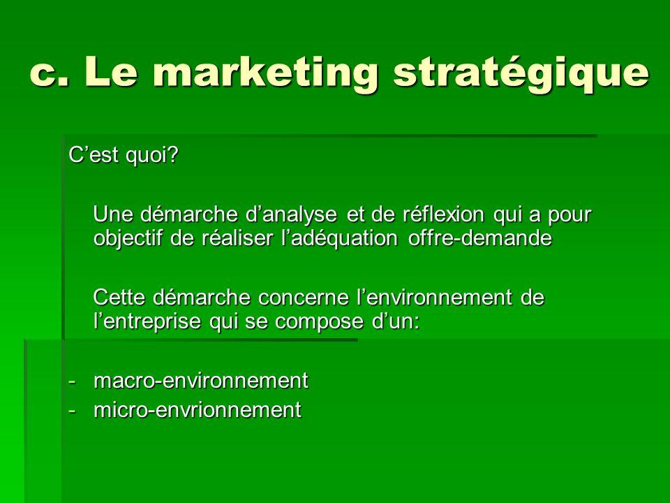 c. Le marketing stratégique Cest quoi? Une démarche danalyse et de réflexion qui a pour objectif de réaliser ladéquation offre-demande Une démarche da