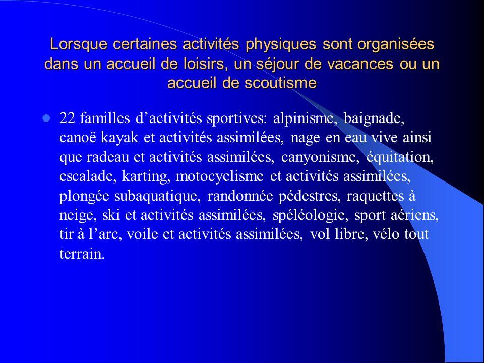 Lorsque certaines activités physiques sont organisées dans un accueil de loisirs, un séjour de vacances ou un accueil de scoutisme 22 familles dactivi