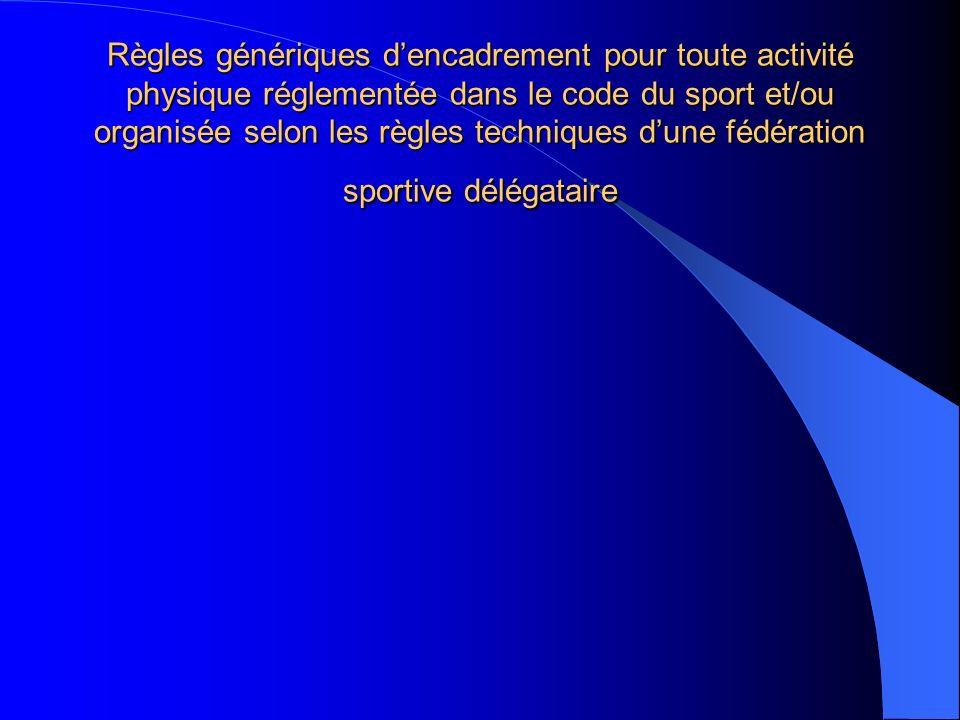 Règles génériques dencadrement pour toute activité physique réglementée dans le code du sport et/ou organisée selon les règles techniques dune fédérat