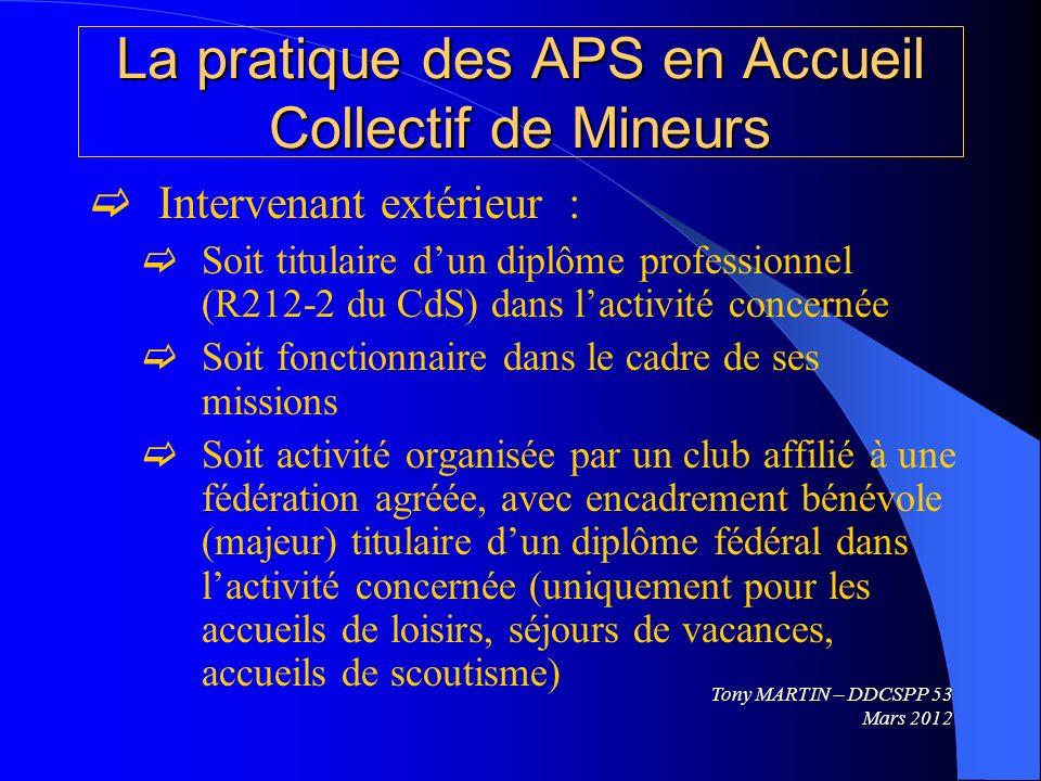 La pratique des APS en Accueil Collectif de Mineurs Intervenant extérieur : Soit titulaire dun diplôme professionnel (R212-2 du CdS) dans lactivité co