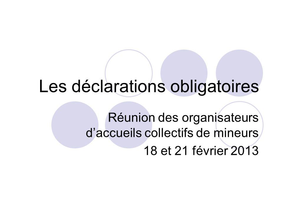 Les déclarations obligatoires Réunion des organisateurs daccueils collectifs de mineurs 18 et 21 février 2013