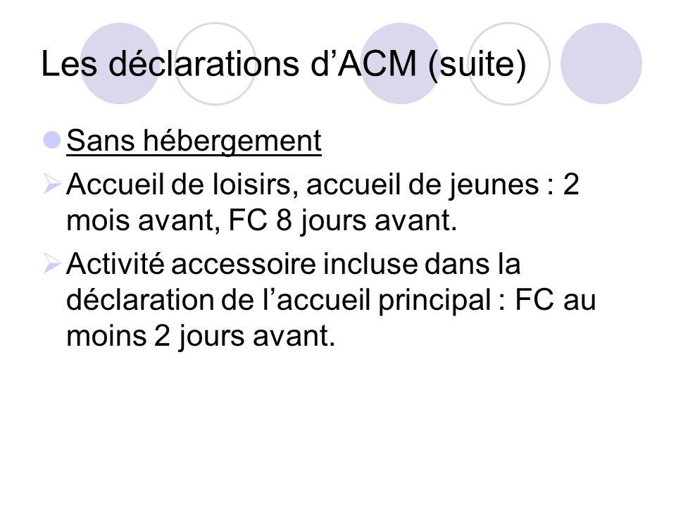 Les déclarations dACM (suite) Sans hébergement Accueil de loisirs, accueil de jeunes : 2 mois avant, FC 8 jours avant. Activité accessoire incluse dan