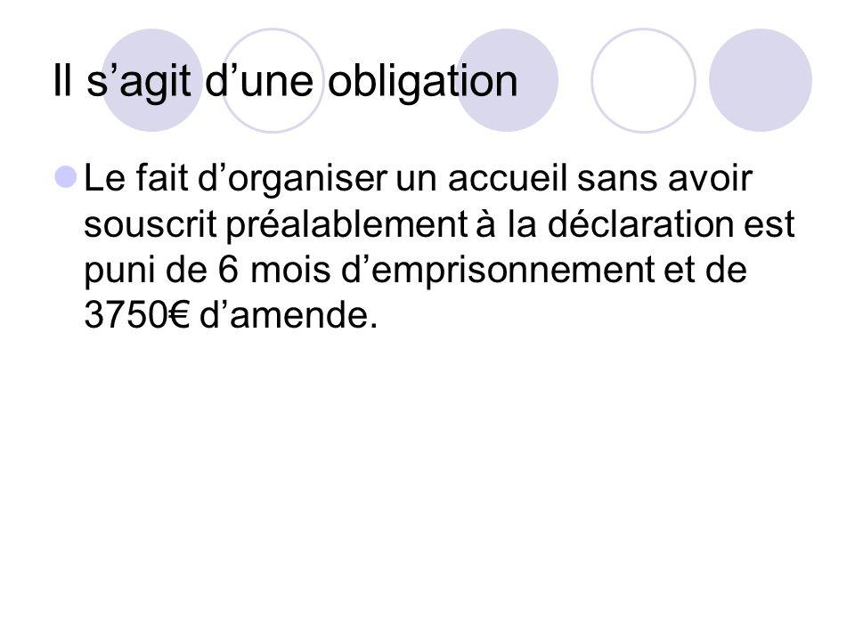 Les locaux Accueillant des mineurs Déclaration auprès de la DDCSPP qui délivre un n° denregistrement, accompagné de lautorisation de première ouverture délivrée par la Maire.