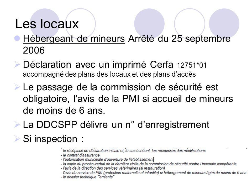 Les locaux Hébergeant de mineurs Arrêté du 25 septembre 2006 Déclaration avec un imprimé Cerfa 12751*01 accompagné des plans des locaux et des plans d