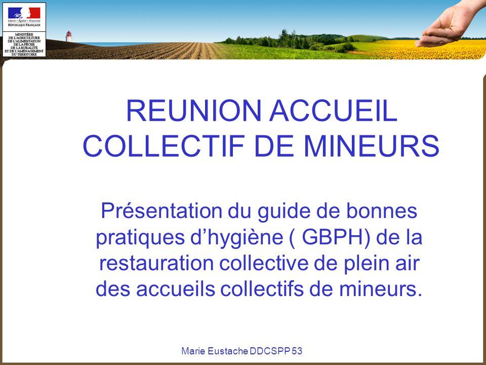 Marie Eustache DDCSPP 53 REUNION ACCUEIL COLLECTIF DE MINEURS Présentation du guide de bonnes pratiques dhygiène ( GBPH) de la restauration collective